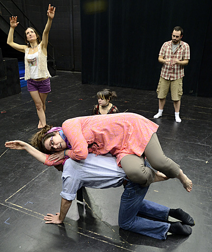 "The cast of ""Circle Mirror Transformation"" — standing, Risa Beth Cohen and Juan Rodriguez, seated center, Megan Aherne, and Pamela Tomassetti and Dr. Ben Pryor — attempt to recreate a childhood bedroom."