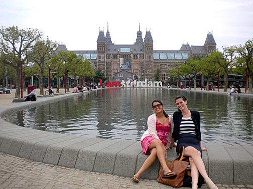 UT graduate students Kristen Huffman and Erin Flaherty posed for a photo in Amsterdam while studying abroad.
