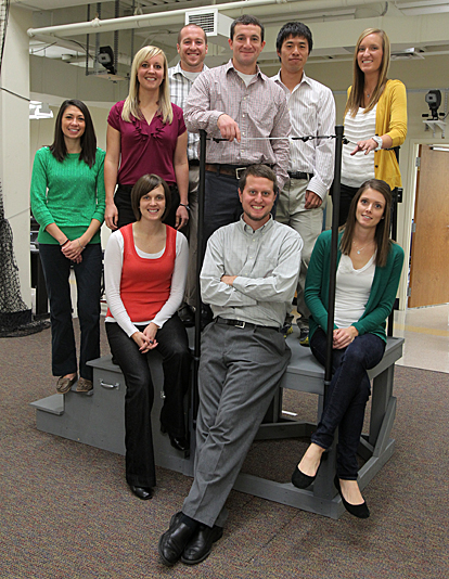Dr. Brian Pietrosimone and doctoral students worked it for the camera, top row, from left, Michelle McLeod, Brittney Luc, Adam Lepley, Pietrosimone, Masafumi Terada and Amanda Murray, and bottom row, from left, Hayley Ericksen, Matthew Harkey and Megan Quinlevan.