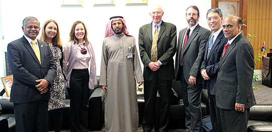 Dr. Ali Rashid Al-Noaimi, vice chancellor at United Arab Emirates University, center, met with UT faculty members to discuss shared areas of research interest and potential collaborations. The UT delegation included, from left, Dr. Nagi Naganathan, dean of the College of Engineering; Dr. Carol Stepien, professor of ecology and director of the Lake Erie Center; Dr. Isabel Escobar, associate professor of chemical and environmental engineering; Dr. Frank Calzonetti, vice president for government relations; Dr. Richard Becker, assistant professor of environmental sciences; Dr. Jiquan Chen, professor of ecology; and Dr. Ashok Kumar, professor and chair of civil engineering.