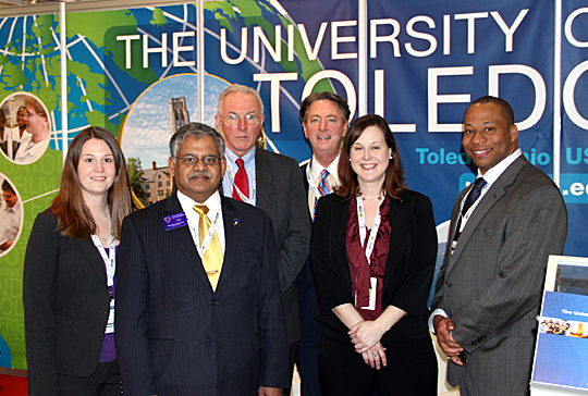 Posing for a photo last month at UT's booth at the World Future Energy Summit in Abu Dhabi, United Arab Emirates, were, from left, Margie Traband, incubation outreach manager; Dr. Nagi Naganathan, dean of the College of Engineering; Dr. Frank Calzonetti, vice president for government relations; Lawrence J. Burns, vice president for external affairs; Diane Miller, assistant vice president for federal relations; and Dr. Sammy Spann, assistant provost for international studies and programs.