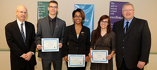 Dr. Jeffrey Gold, chancellor and executive vice president for biosciences and health affairs, and dean of the College of Medicine and Life Sciences, left, and Dr. Timothy Gaspar, dean of the College of Nursing, posed for a photo with students who were elected to offices in the Ohio Nursing Students' Association, from left, Joshua Conklin, vice president, Ashante' O'Dell, breakthrough to nursing director, and Leslie Puchala, secretary. Jacob Hunter, membership director, was not at the photo shoot.