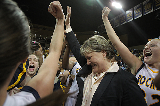 Coach Tricia Cullop and the Rockets celebrated after a big win.