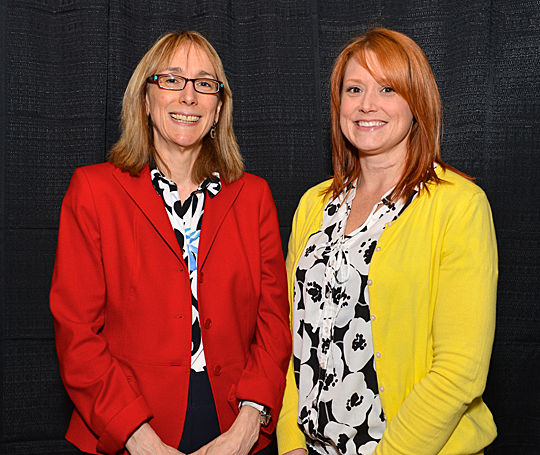 Dr. Kristen Keith, left, and Christina Hennen won Outstanding Adviser Awards.