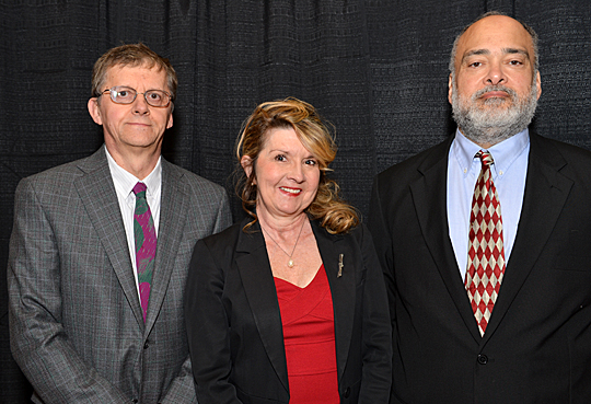 Outstanding Researcher Awards went to, from left, Dr. Stanislaw M. Stepkowski, Jane Bradley and Llewellyn Joseph Gibbons.