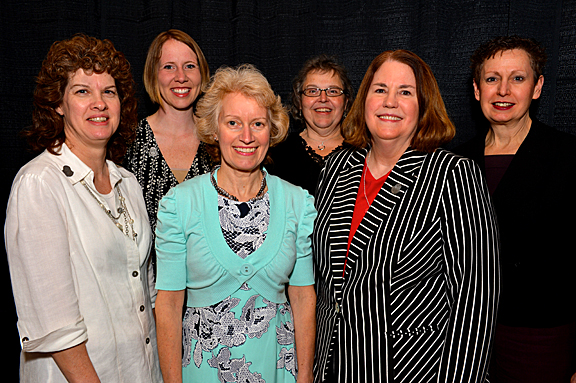 Taking home Outstanding Staff Awards were, from left, Brenda Young, Sara Clark, Jane Lawrence, Lynda Obee, Nancy Hintz and Karen Whitmer.