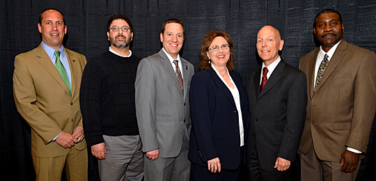 The Outstanding Teacher Awards went to, from left, Dr. Robert Yonker, Dr. Jerry Van Hoy, Dr. Matthew Franchetti, Julie Coyle, Dr. Glenn Lipscomb and Dr. Anthony Quinn.