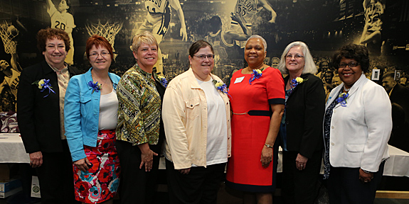 Winners of the 2013 Dr. Alice Skeens Outstanding Woman Award were, from left, Dr. Mary Ellen Edwards, Kathleen Walsh, Dr. Susan Telljohann, Dr. Karen Bjorkman, Roberta Edgecombe, Marie Janes and Joan Easler.