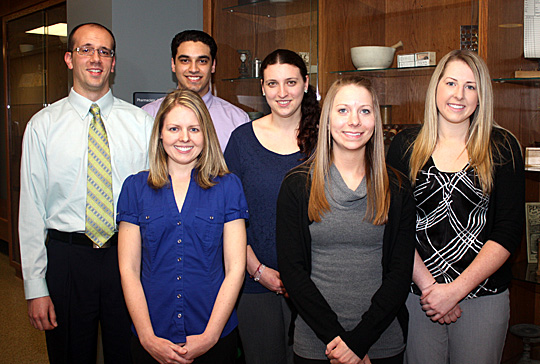 Students graduating in May from the doctor of pharmacy program include, from left, Andrew Azzi, Julie Miller, Benjit Singh, Sarah Albers, Amber DeVore and Stephanie Ogorzaly. All will continue their post-graduate training.