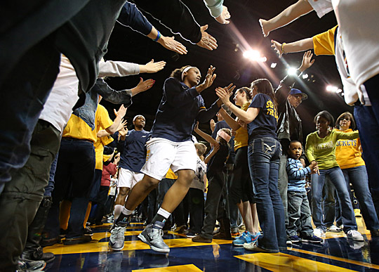 Senior Yolanda Richardson was greeted by fans as the Rockets hit the floor for a WNIT game in Savage Arena last month.