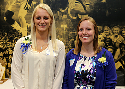 Receiving University Women's Commission scholarships were Alissa Ciacelli, left, and Kayla Wrasman.