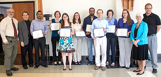 Graduate students who received Graduate Research Awards and the College of Graduate Studies dean, Graduate Council officers and Graduate Student Association president posed for a photo last month. They are, from left, Dr. Nick Piazza, Dr. David Giovannucci, Priyodarshan Goswamee, Christine Baksovich, Erin Vogel, Michelle Roley, Chandrasekhar Garapati, Ryan Corser, Ashley Hall, Monica Rohrabraugh, Dr. Patricia Komuniecki and Joshua Waldman. Also receiving awards but not in the photo were Nick Kruse, Trent Cayot and Aditya Togi.