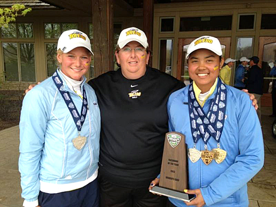 Head Women's Golf Coach Nicole Hollingsworth posed for a photo with Sathika Ruenreong, right, who was named MAC Freshman of Year and first-team All-MAC, and Kate Hoops, who earned second-team All-MAC honors.