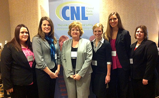 Attending the 2013 Clinical Nurse Leader Summit of the American Association of Colleges of Nursing were, from left, Lauren Snyder, Kimberly Vriezelaar, Dr. Kelly Phillips, Chelsea Condon, Sarah Dillon and Tandy Szabo.
