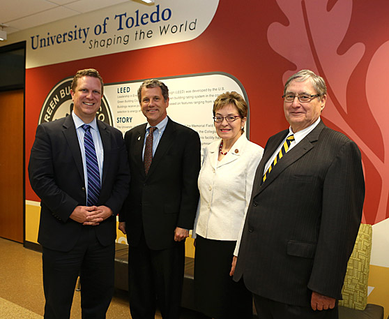 Attending the Clean Energy Manufacturing Initiative — Midwest Summit last week were, from left, Dr. David Danielson, assistant secretary for energy efficiency and renewable energy for the U.S. Department of Energy, U.S. Sen. Sherrod Brown, U.S. Rep. Marcy Kaptur and UT President Lloyd Jacobs.