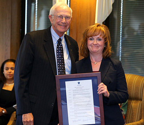 William Koester, chair of the board, presented trustee Susan Gilmore with a proclamation thanking her for her service. Her term and Koester's expire at the end of the month. President Lloyd Jacobs presented Koester with a proclamation as well.