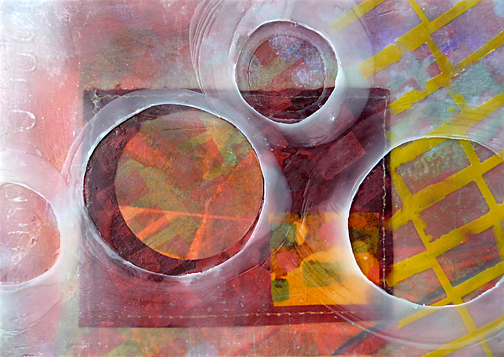 """O,"" encaustic painting with mixed reclaimed paper on baltic birch panel, by Barbara WF Miner is included in ""Transcending Text."""