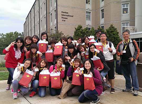Students from HungKuang University posed for a photo after arriving at the University.