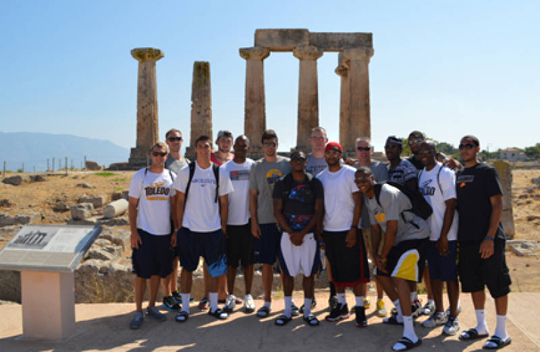 The men's basketball team visited the Temple of Apollo in Greece.