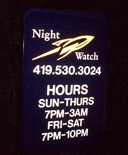 Night Watch sign more color photo by Lt. Charles Williams