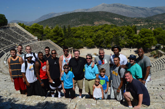 The Rockets posed for a photo at the theater in Epidavros.