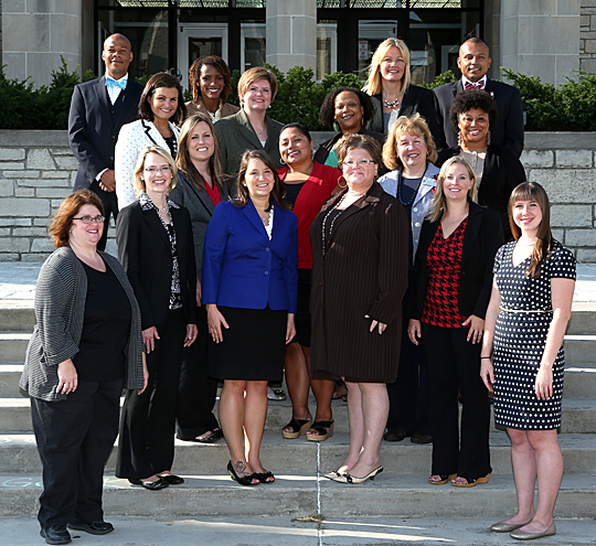 UT success coaches gathered before meeting with their students. They are, front row, from left, Lisa Bollman, Shawna Babula, Emily Schneider, April Sue Platt, Jessica Faber and Paulette Bongratz; second row, Jessica Weigle, Angela Duran, Kathleen Jensen and Marissa Reid; third row, Mary Youngs, Kari Dilworth and Malaika Bell; and back row, Richard Clark, Whitney Walker, Leslie Meyers and Jose Rosales.