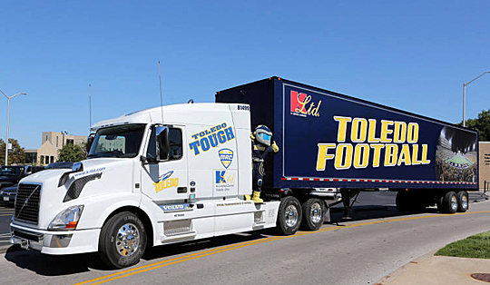 The UT football equipment truck will transport the Rockets' gear to all road games.