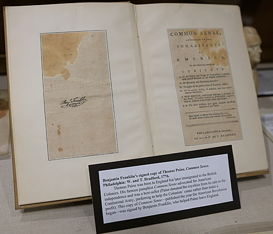"Ben Franklin's signed copy of ""Common Sense"" is part of the ""Letters of Luminaries"" exhibit."