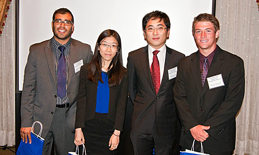 Operations/supply chain management students, from left, Essa Almazni, Jingwen Zhang, Riheng Cao and Austin Petroff won the undergraduate student case competition in front of a panel of international judges at the Global Supply Chain Management Conference.