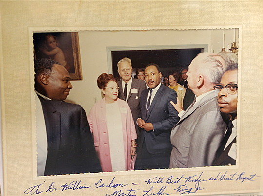 Dr. Martin Luther King Jr. signed this photo that was taken in Toledo on Sept. 22, 1967, when he spoke at a rally at Scott High School. The photo was given to then-UT President William S. Carlson.