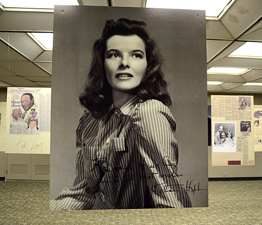 "Autographs featured in ""Celebrity Sightings"" include that of Katherine Hepburn."