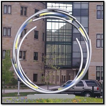 "This rendering shows what Gordon Huether's ""Portal"" will look like when installed on UT's Main Campus."