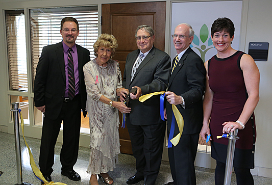 Dr. Timothy Jordan, left, Gladys Thompson, President Lloyd Jacobs, Provost Jeffrey Gold and Dr. Amy Thompson posed for a photo after cutting the ribbon for the new Center for Health and Successful Living.