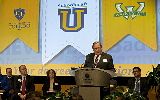 UT President Lloyd Jacobs talked about how the new Schoolcraft to U partnership between the University and Schoolcraft College will benefit students in southeast Michigan.