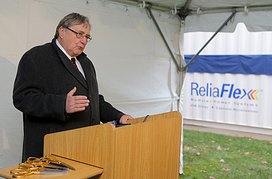 President Lloyd Jacob spoke at a recent ceremony to celebrate the Green Data Center, which makes the University Computer Center energy independent while recycling heat generated by the system for the pool in the Student Recreation Center.
