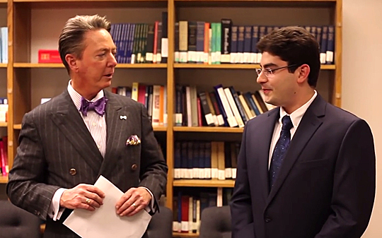 "Lawrence J. Burns, vice president for external affairs, talked with Bryan Lubomirsky, third-year medical student, about his research on post-traumatic mental health for a ""Tower Views"" video."