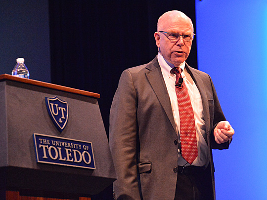 Richard Rumelt shared his business expertise last week in Doermann Theater during a Jesup Scott Honors College Lecture.