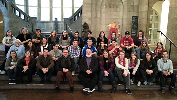 Dr. Andy Jorgensen, front row center, posed for a photo at the Hamburg Museum of History with students from one of the classes he is teaching at Leuphana University in Lüneburg, Germany, this semester.