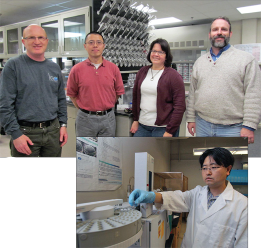 Leading the study of phosphorous in Lake Erie are, from left, Drs. Tom Bridgeman, Song Qian, Christine Mayer and Ricky Becker of the Department of Environmental Sciences. Dr. Yougwoo Seo of the Department of Civil Engineering, right, developed the phosphorous probe for the project.