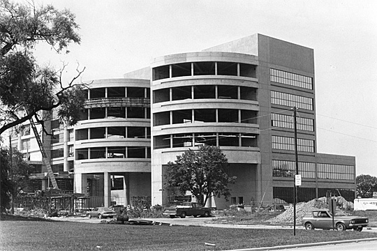 The Medical College of Ohio's hospital, shown here during construction, opened in 1979.