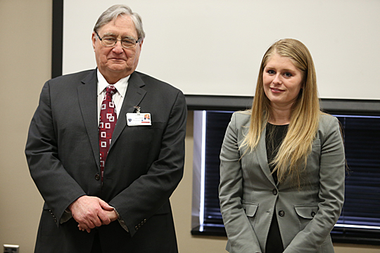 President Lloyd Jacobs and Yelena Zhernovskiy were at the Feb. 26 UT Jefferson Awards luncheon.