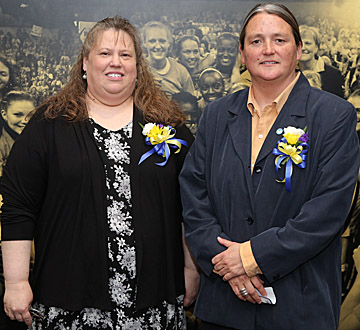 Sandy Stewart, left, and Dr. Sharon Barnes received the 2014 Dr. Alice Skeens Outstanding Woman Award.