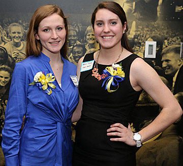 Lauren Marshall, left, and Mollie Scholl were awarded University Women's Commission scholarships.