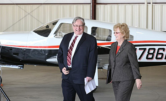 UT President Lloyd Jacobs and BGSU President Mary Ellen Mazey talked before announcing the two schools will work together to develop the Northwest Ohio Aviation Education Consortium.