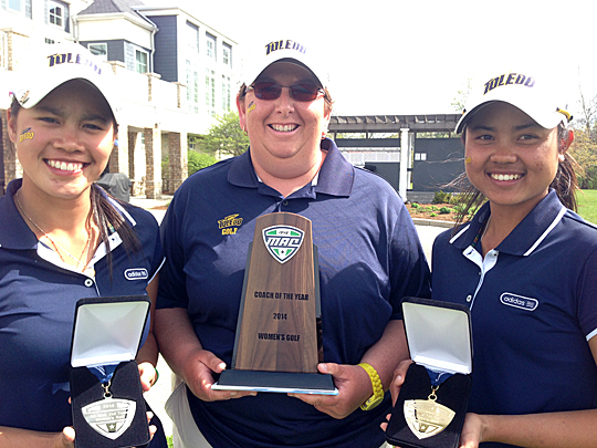 Manisa Isavas, Head Women's Golf Coach Nicole Hollingsworth and Sathika Ruenreong showed off their honors after the MAC Championship Tournament.