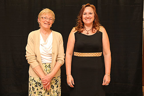 Dr. Lynn Bachelor, left, and Adrienne Aguilar won Outstanding Adviser Awards.