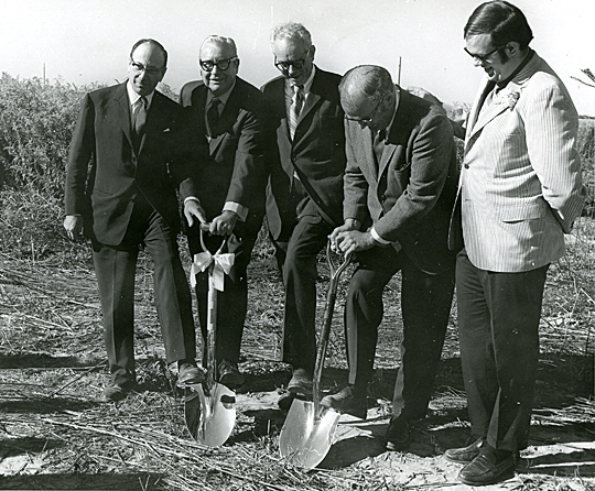 Helping to break ground for the Health Sciences Building Sept. 11, 1970, were, from left, Paul Block, Gov. James Rhodes, Dr. Glidden Brooks, Dr. Robert Page, and student Lurley Archambeau.
