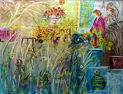 Colleen O'Brien painted this floral work that is part of the auction