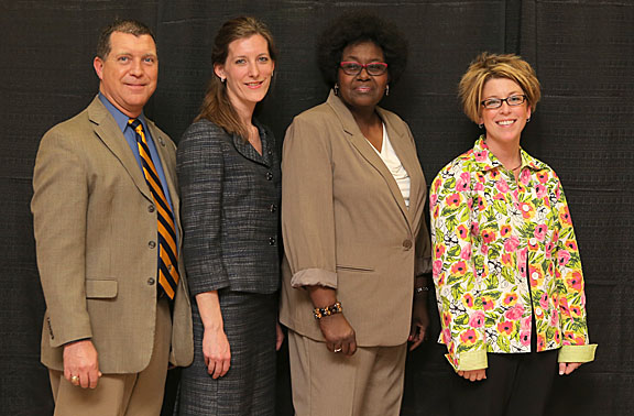 Taking home Outstanding Staff Awards were, from left, Paul Casmus, Deirdre Jones, Beverly Mayo and Ginny York.