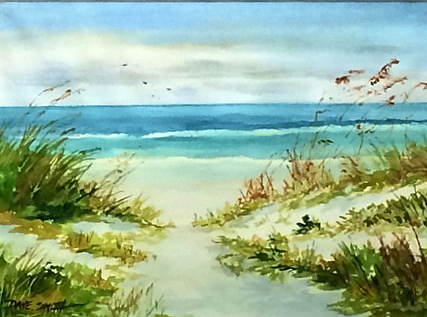 David Smith painted this watercolor beach scene that is up for bid.
